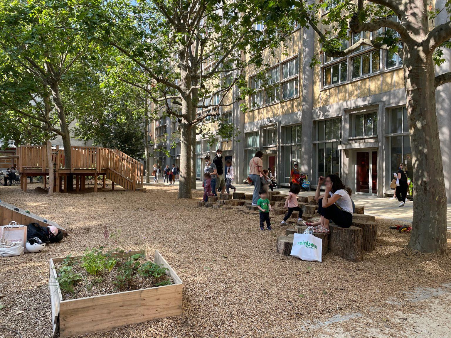 Paris école Keller été animations cour oasis projet européen FEDER réchauffement climatique samedi enfants famille nature jeux parc